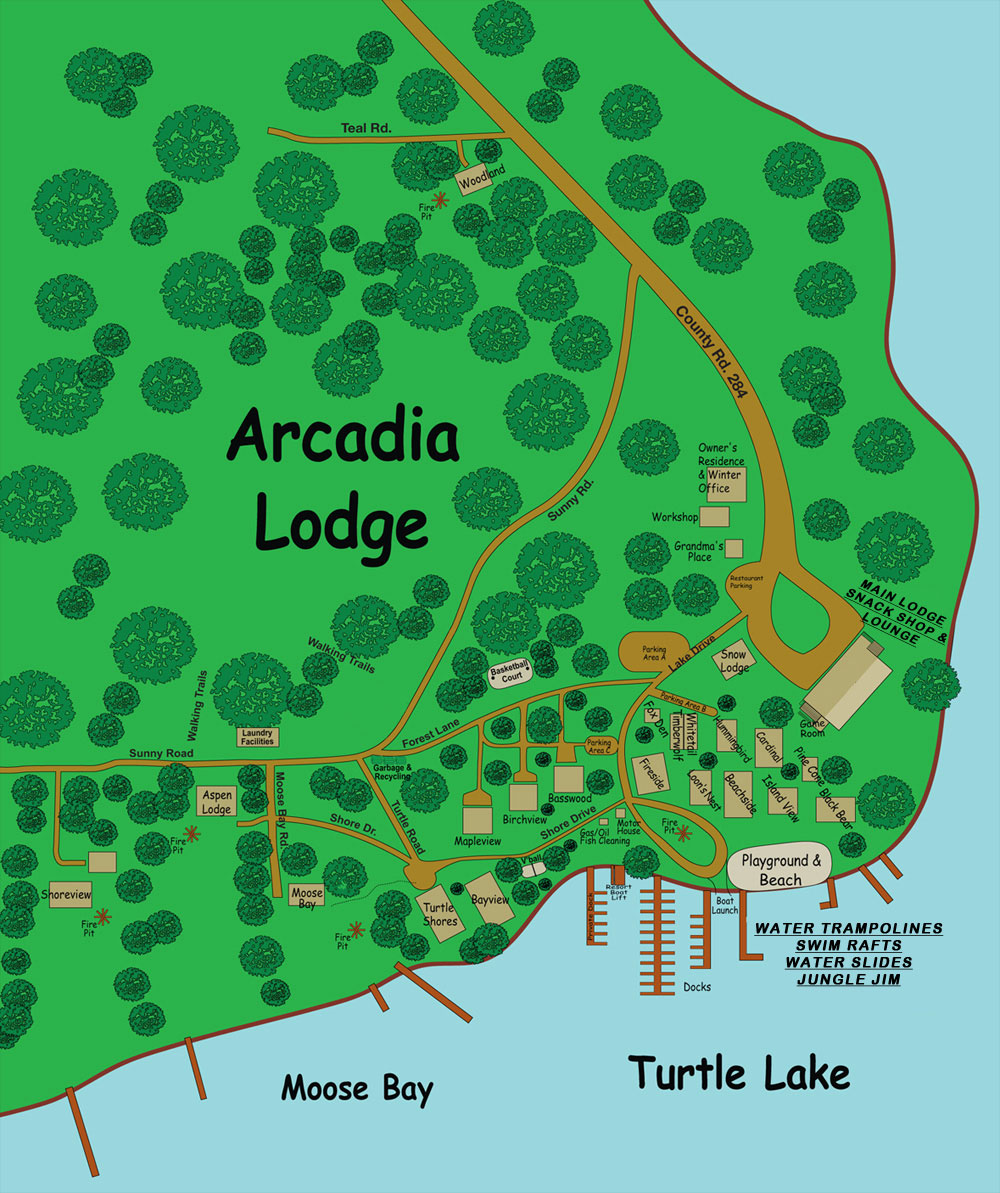 Resort Layout Map of Arcadia Lodge